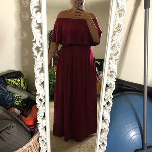 Red maxi dress off shoulder or strapless